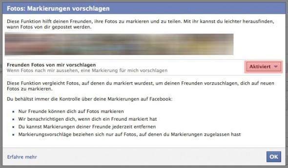 Facebook Markierungen vorschlagen