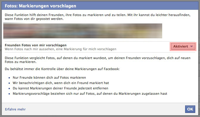 gesichtserkennung facebook ausschalten