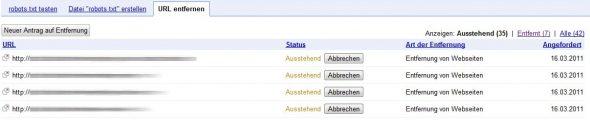 Seiten entfernen aus Google-Index